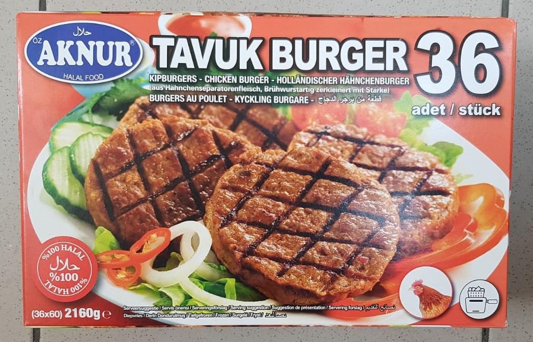 Aknur Tavuk Burger 36 Adet 2160gr