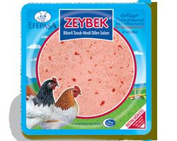 Efepasa Zeybek Geflügelfleischwurst mit Paprika in Scheiben