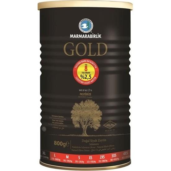 Marmarabirlik Gold Dogal Siyah Zeytin Salamura / Natürliche schwarze Oliven 800g