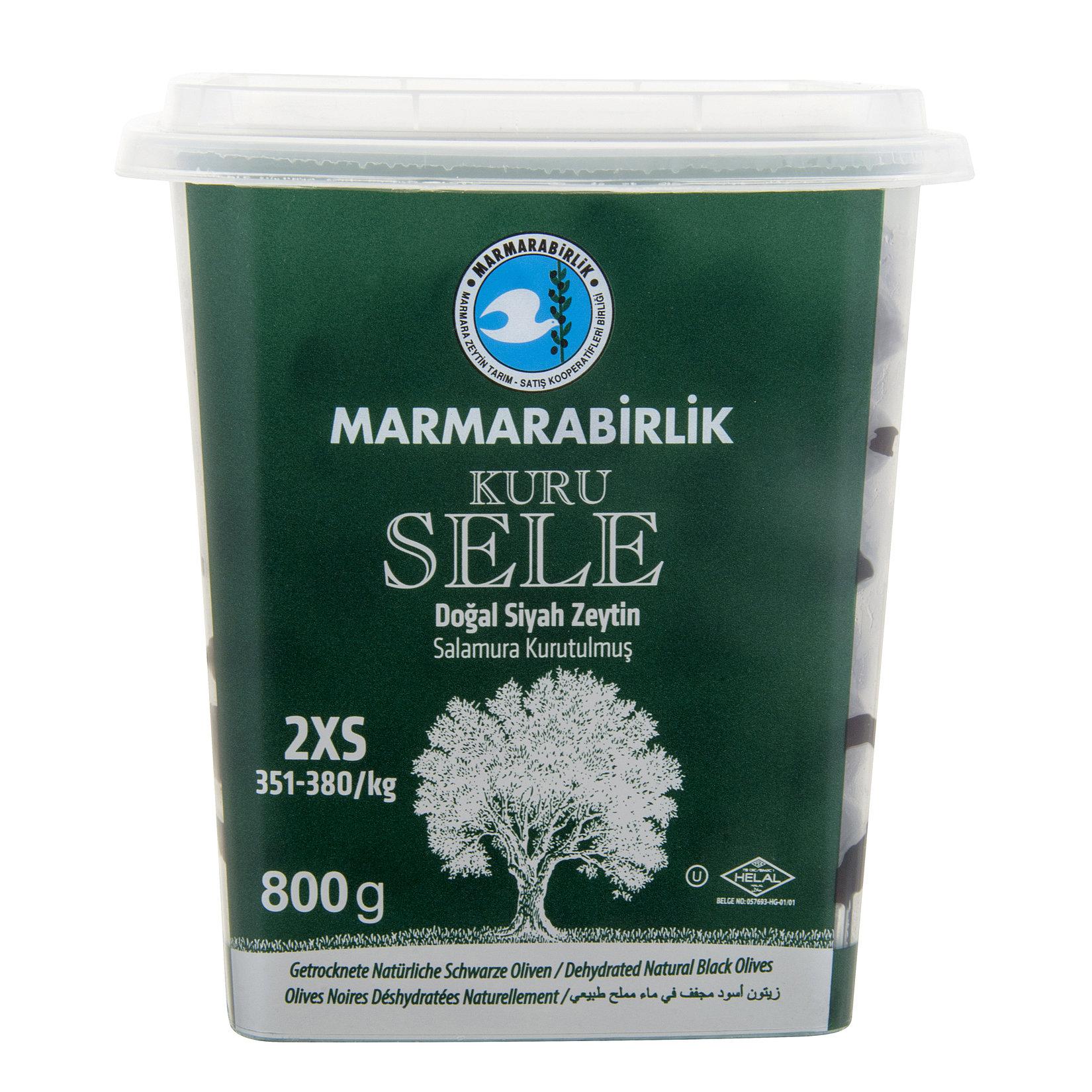 Marmarabirlik Dogal Siyah Zeytin / getrocknete natürliche schwarze Oliven gr. 2XS 800g