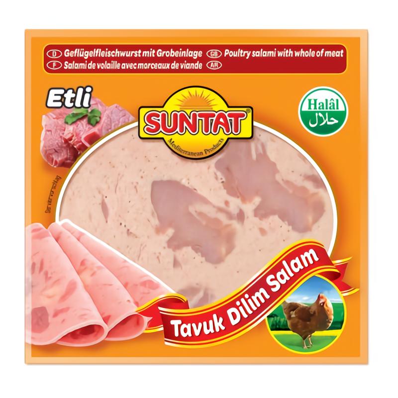 Suntat Tavuk Parca Etli Hindi Dilim Salami / Geflügelfleischwurst mit Grobeinlage 200g