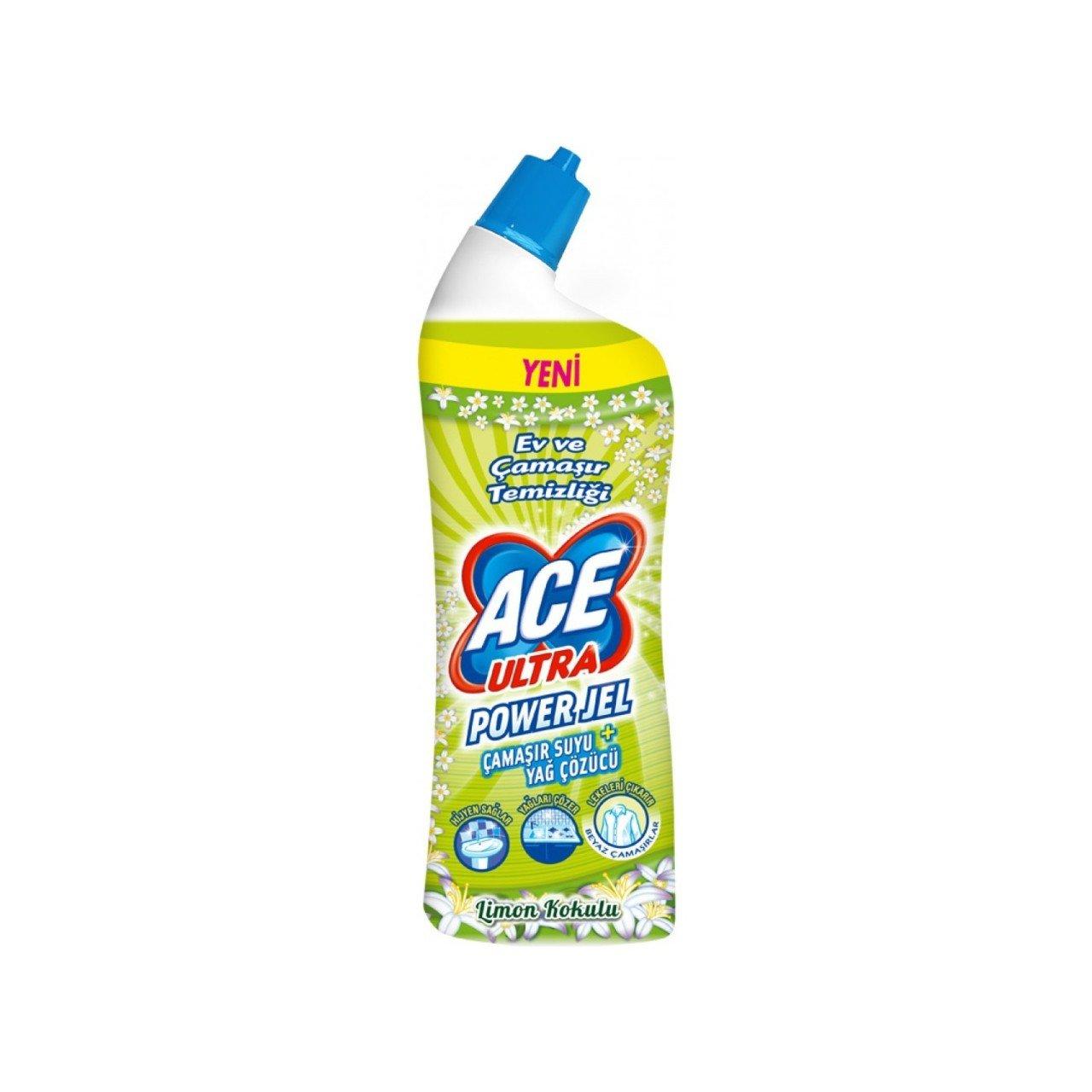 Ace Ultra Power Jel Çamaşır Suyu + Yağ Sökücü Limon Kokulu